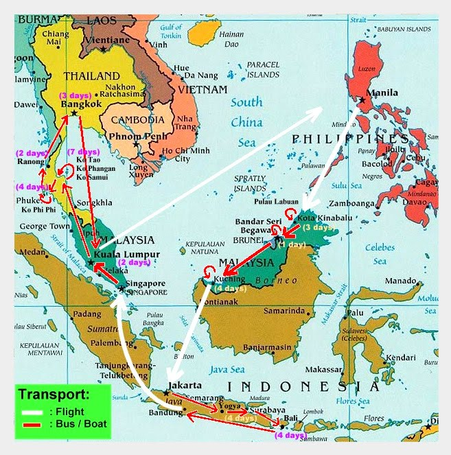 our se asia route edited by shervin map taken from here i mentioned malaysia too many i know i wanted it to be chronologically precise